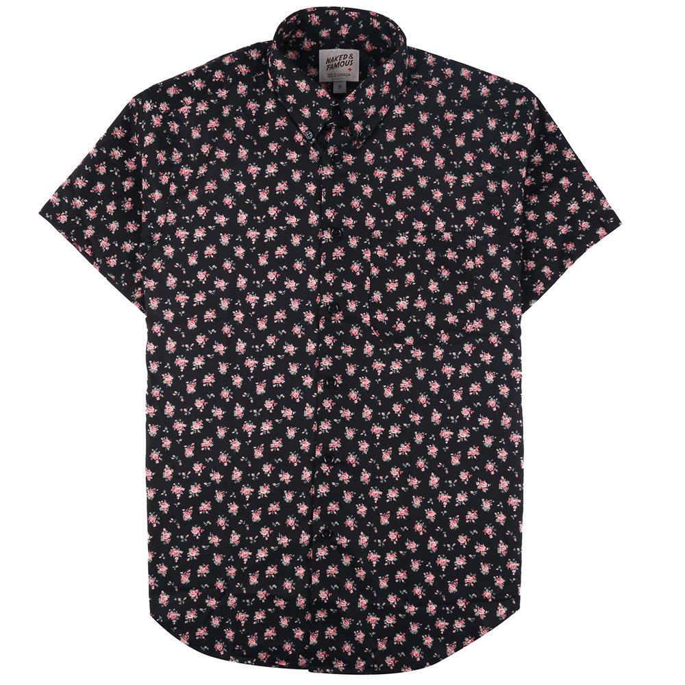 FLOWER PRINT - BLACK - Short Sleeve Easy Shirt