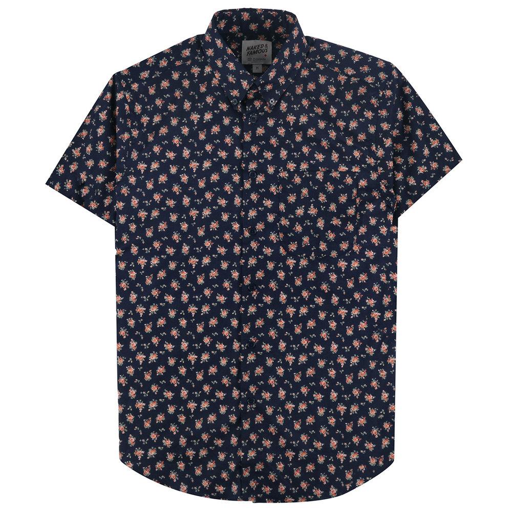 FLOWER PRINT - NAVY - Short Sleeve Easy Shirt