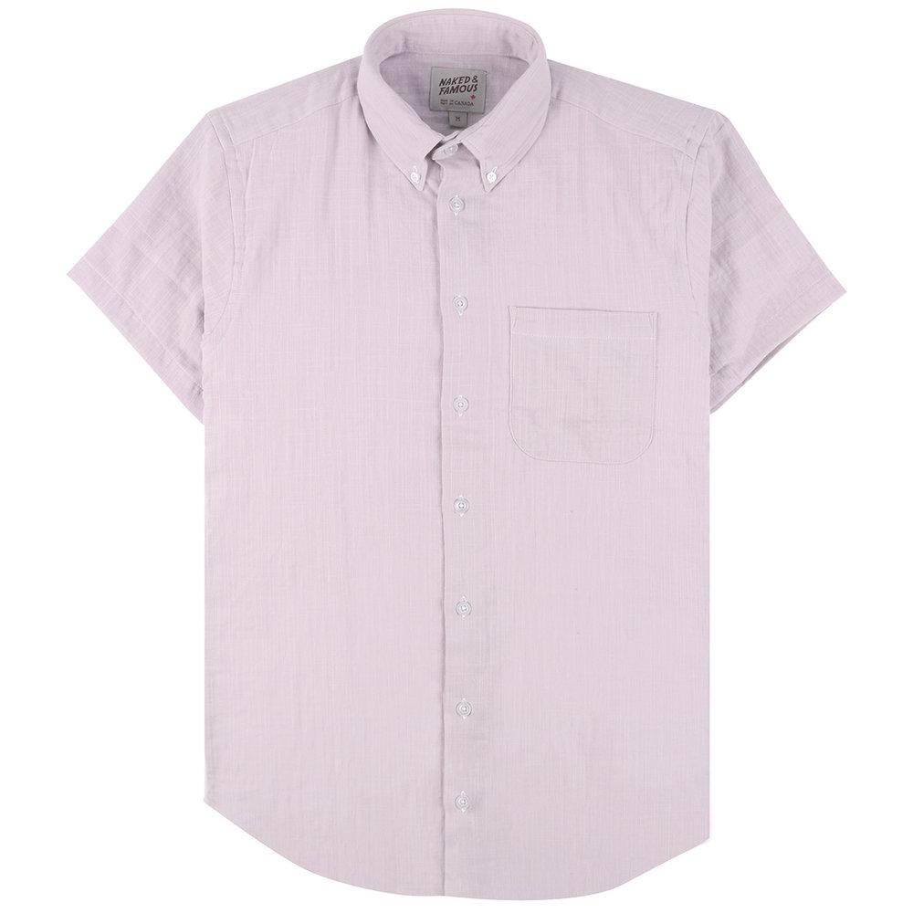 DOUBLE WEAVE GAUZE SLUB - LAVENDER - Short Sleeve Easy Shirt