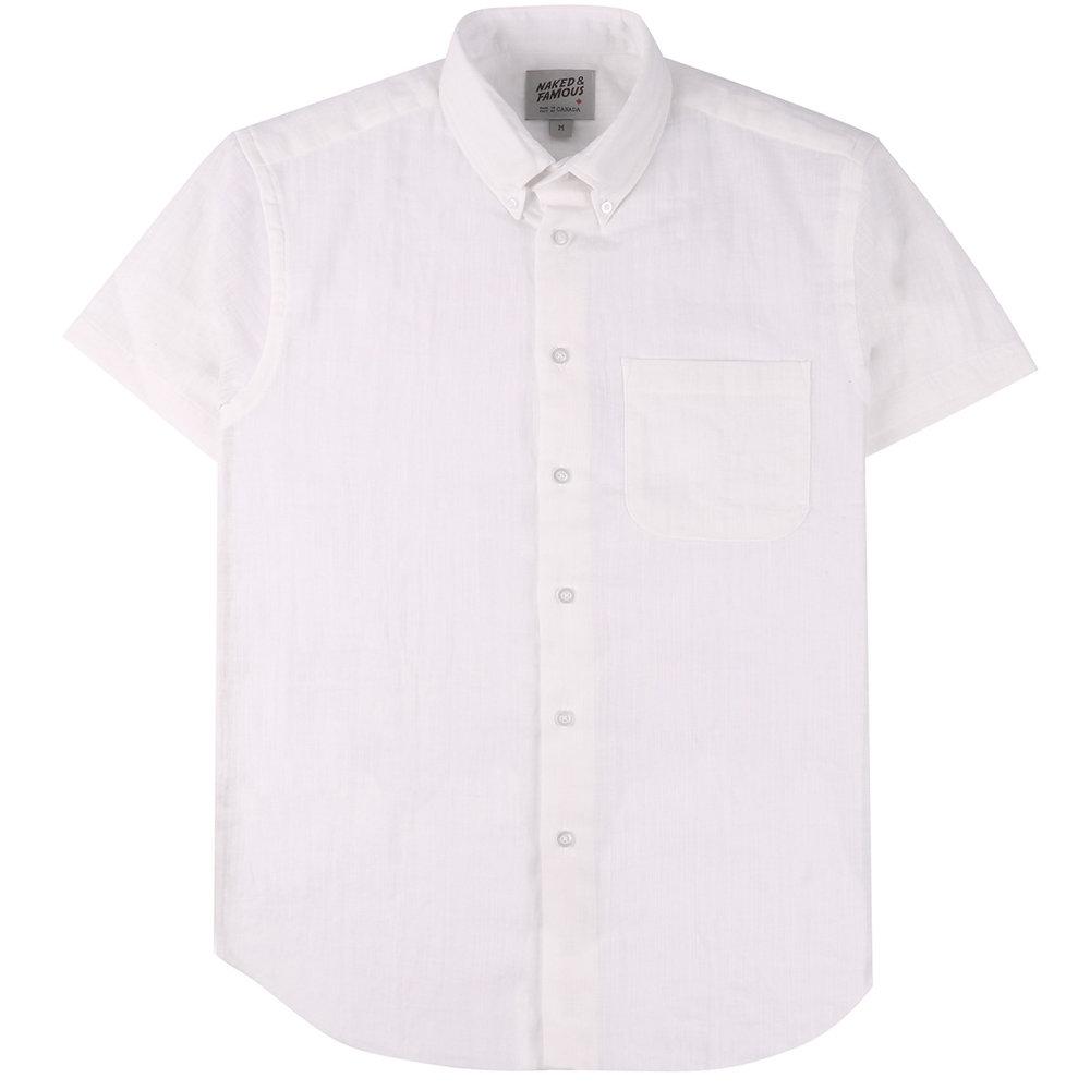 DOUBLE WEAVE GAUZE SLUB - WHITE - Short Sleeve Easy Shirt