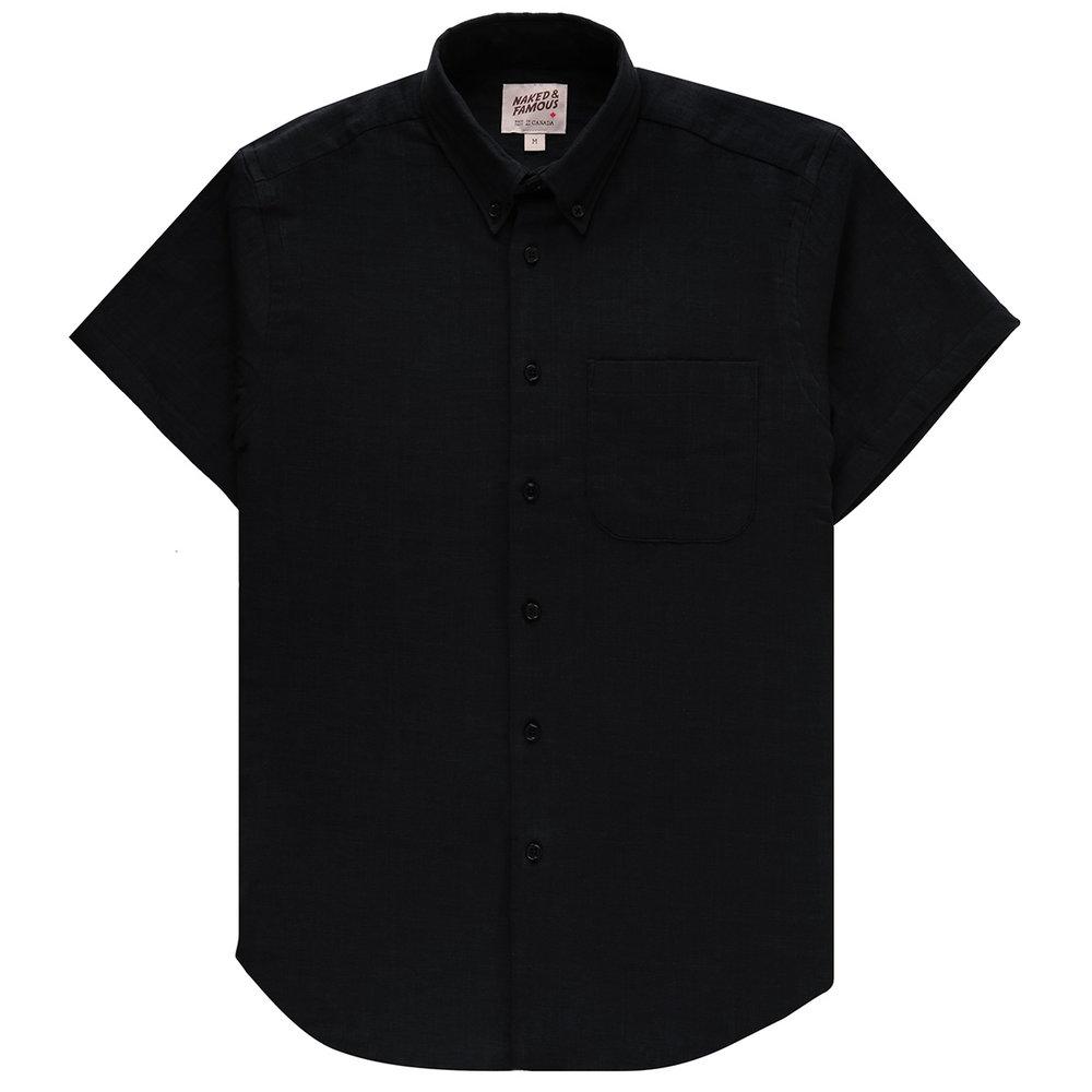 DOUBLE WEAVE GAUZE SLUB - BLACK - Short Sleeve Easy Shirt