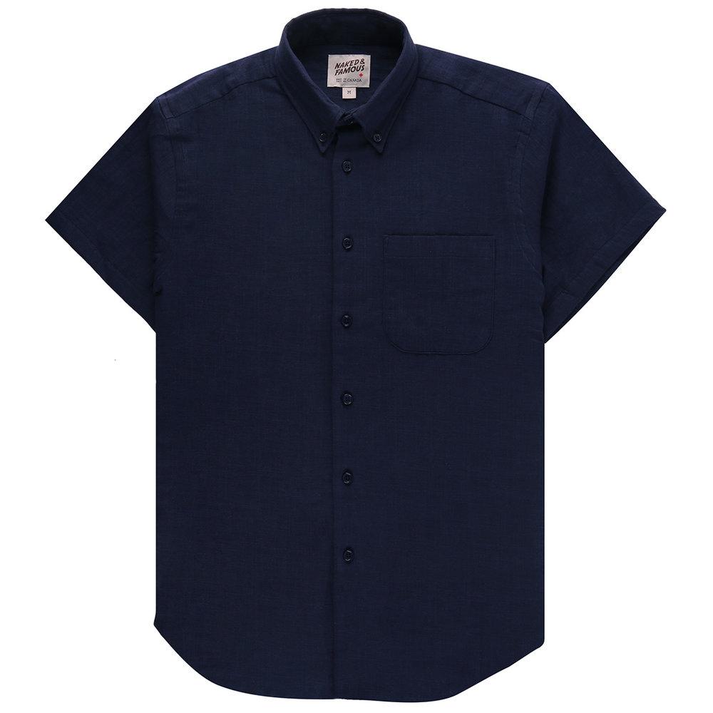 DOUBLE WEAVE GAUZE SLUB - NAVY - Short Sleeve Easy Shirt