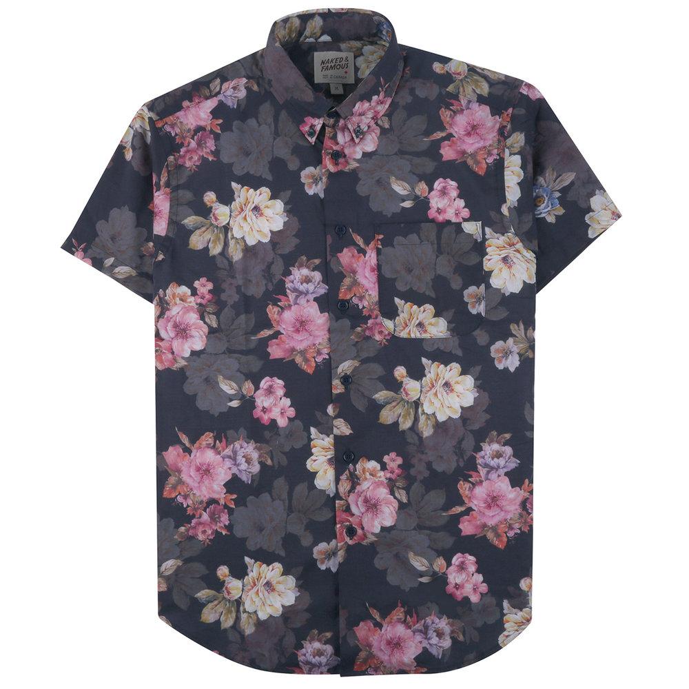 FLOWER PAINTING - NAVY - Short Sleeve Easy Shirt