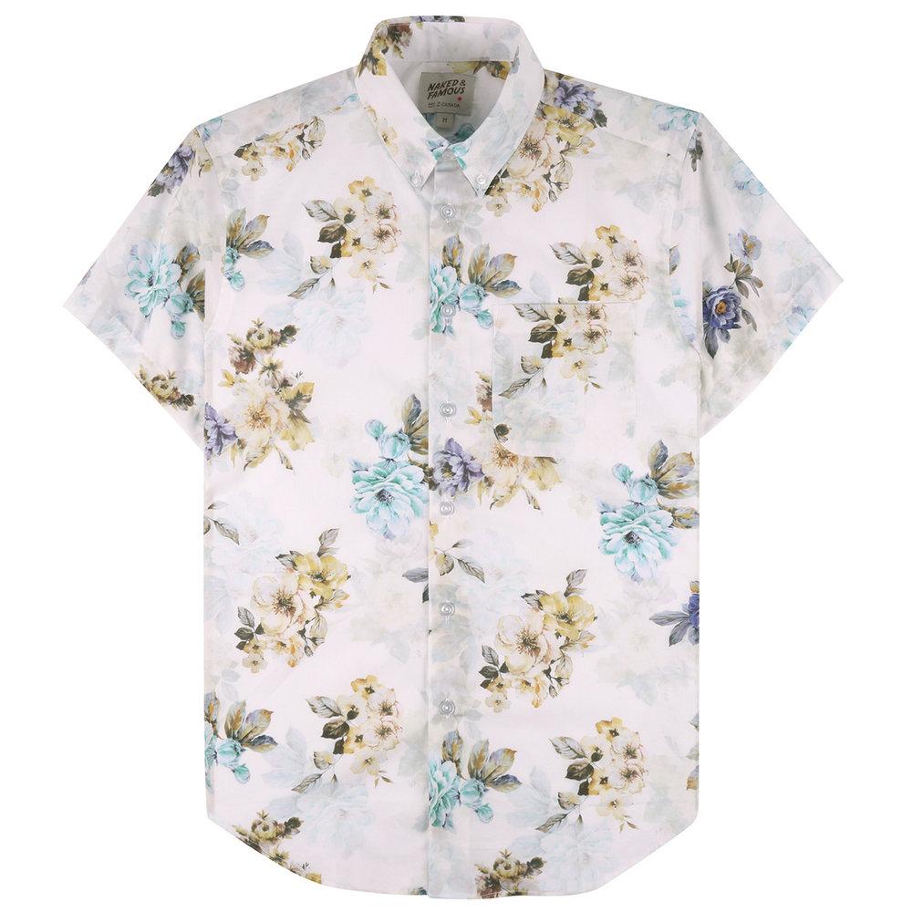 FLOWER PAINTING - WHITE - Short Sleeve Easy Shirt