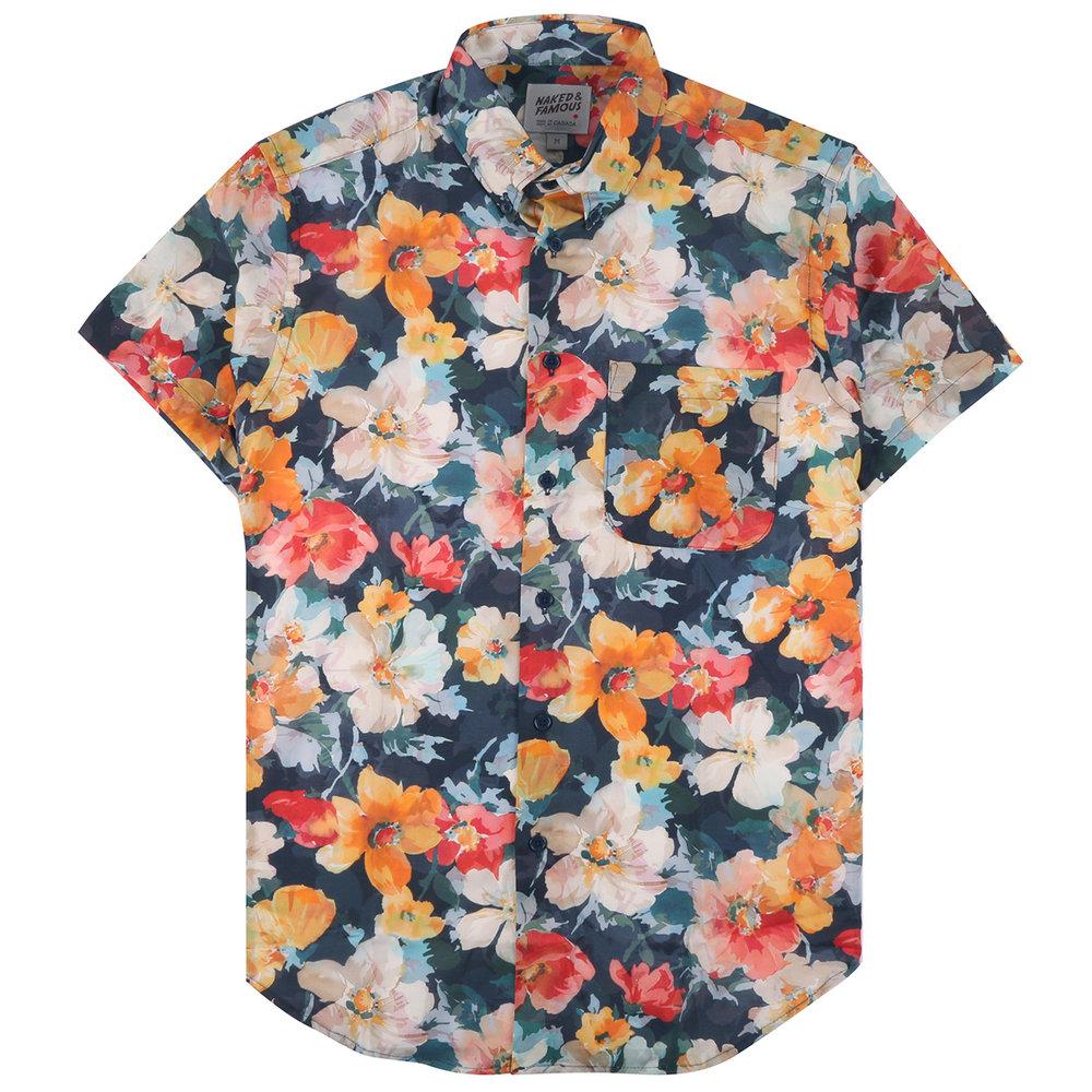 FLOWER PAINTING - ORANGE - Short Sleeve Easy Shirt