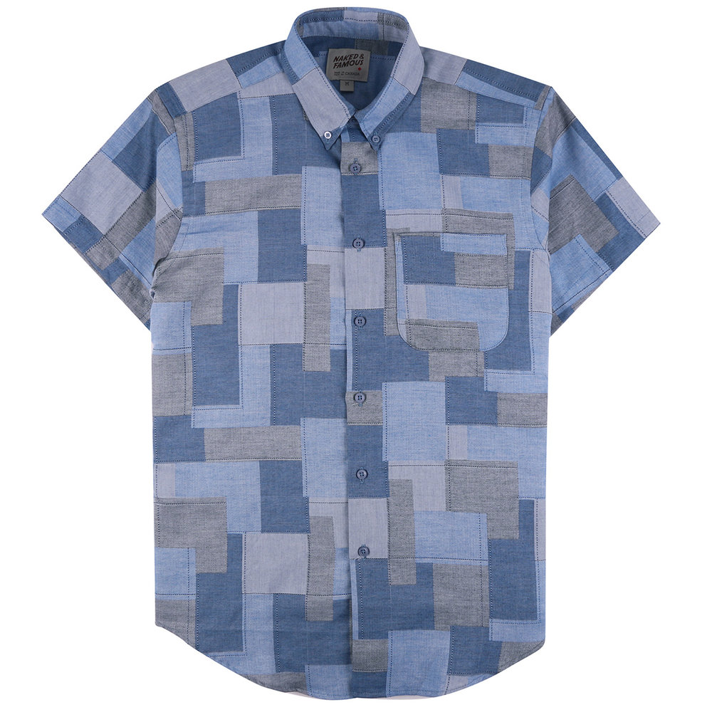 JACQUARD ABSTRACT BLOCKS - Short Sleeve Easy Shirt