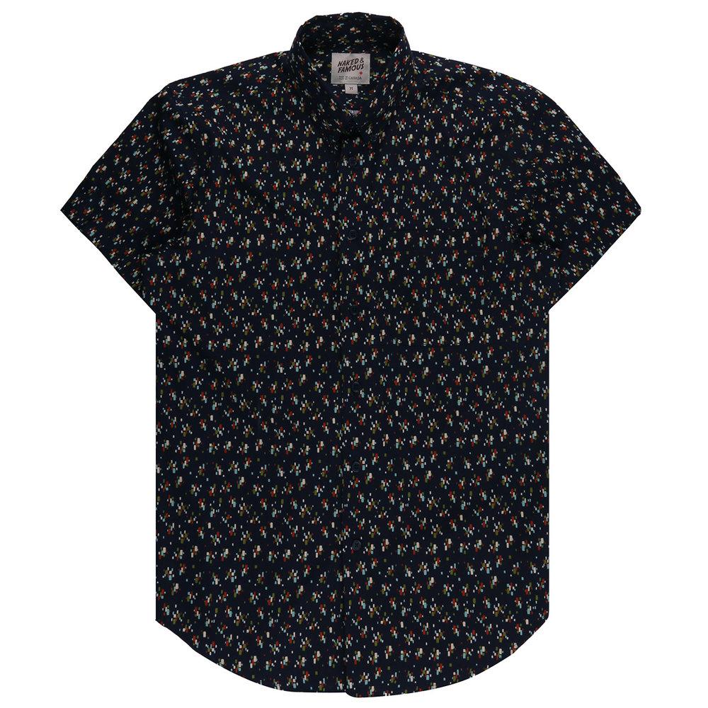 VINTAGE MOD PRINT - NAVY - Short Sleeve Easy Shirt