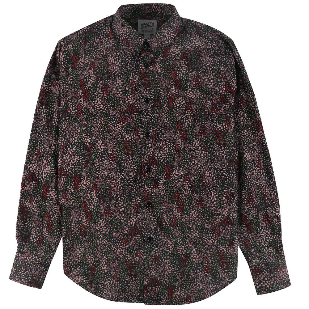 ALLOVER FLOWERS - BLACK - Easy Shirt