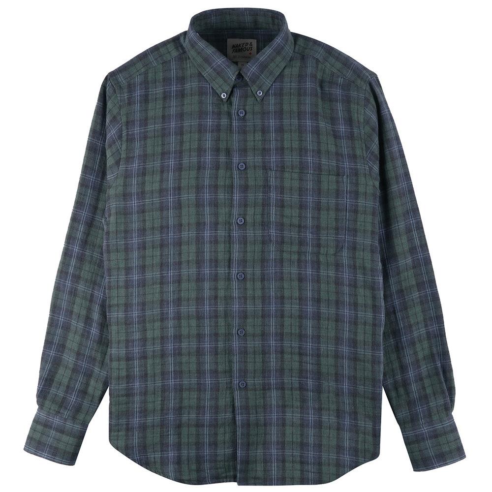 PLAID DOUBLE CLOTH - GREEN/NAVY - Easy Shirt