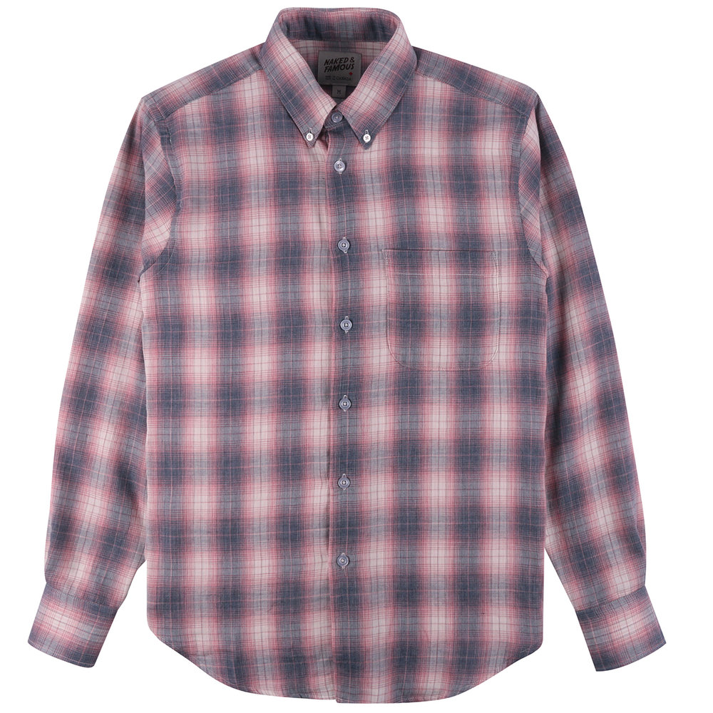 PLAID DOUBLE CLOTH - GREY/PINK - Easy Shirt