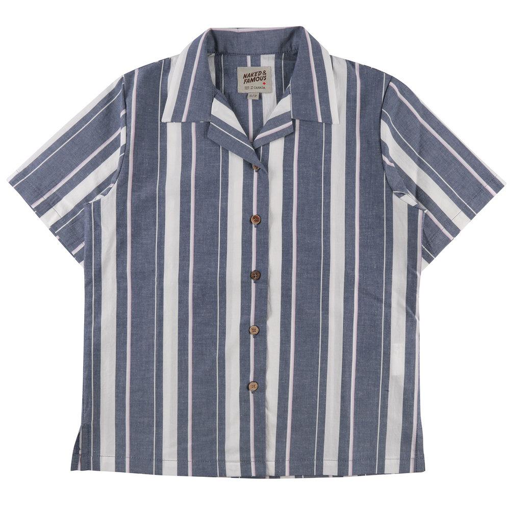 CHAMBRAY SLUB STRIPE - INDIGO - Camp Collar Shirt