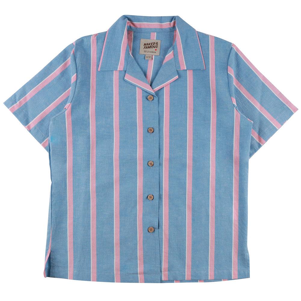 CHAMBRAY SLUB STRIPE - SKY BLUE - Camp Collar Shirt