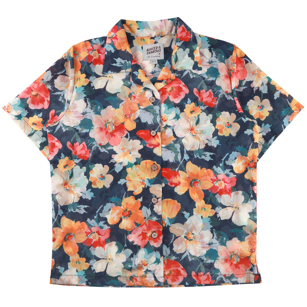 FLOWER PAINTING - ORANGE - Camp Collar Shirt