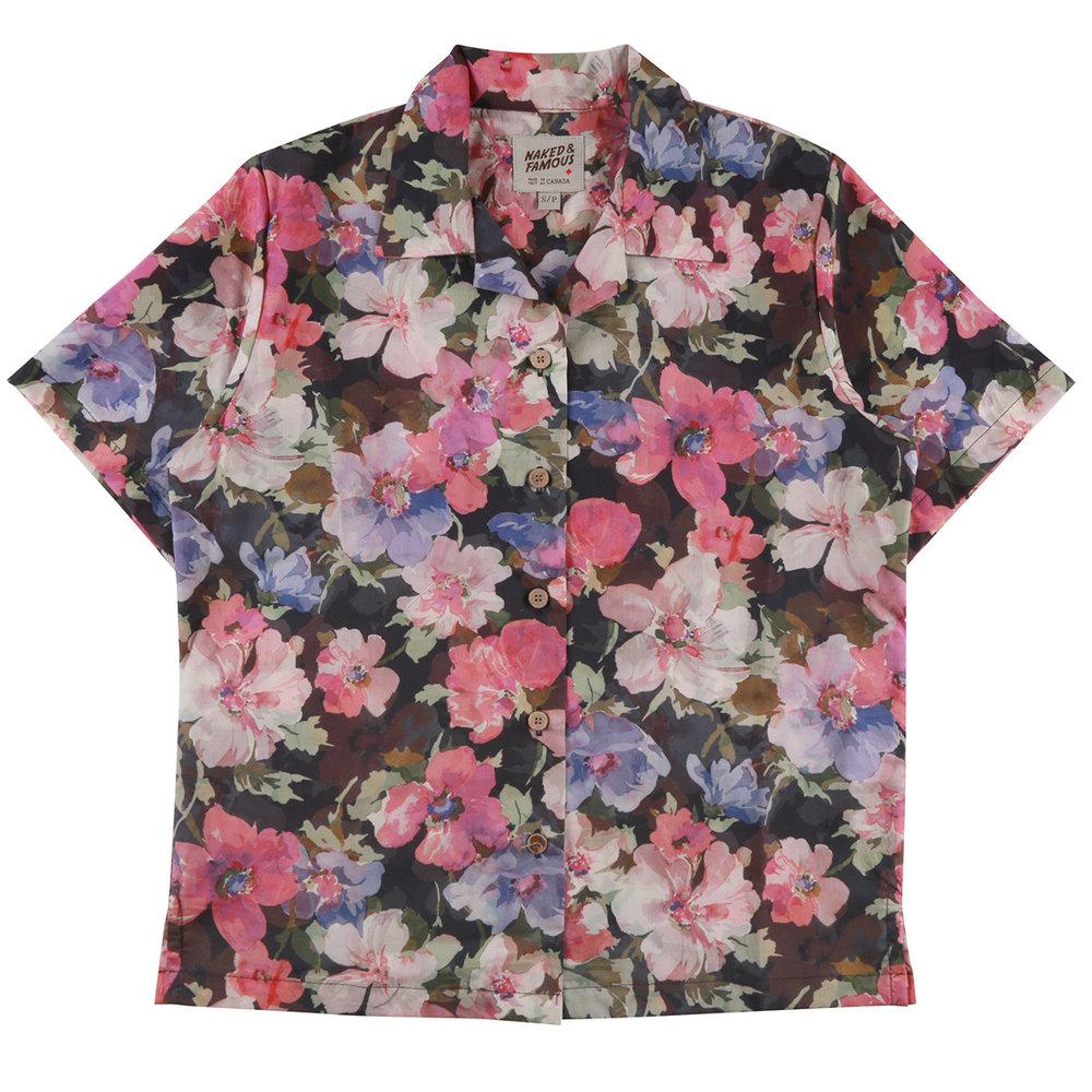 FLOWER PAINTING - PINK - Camp Collar Shirt