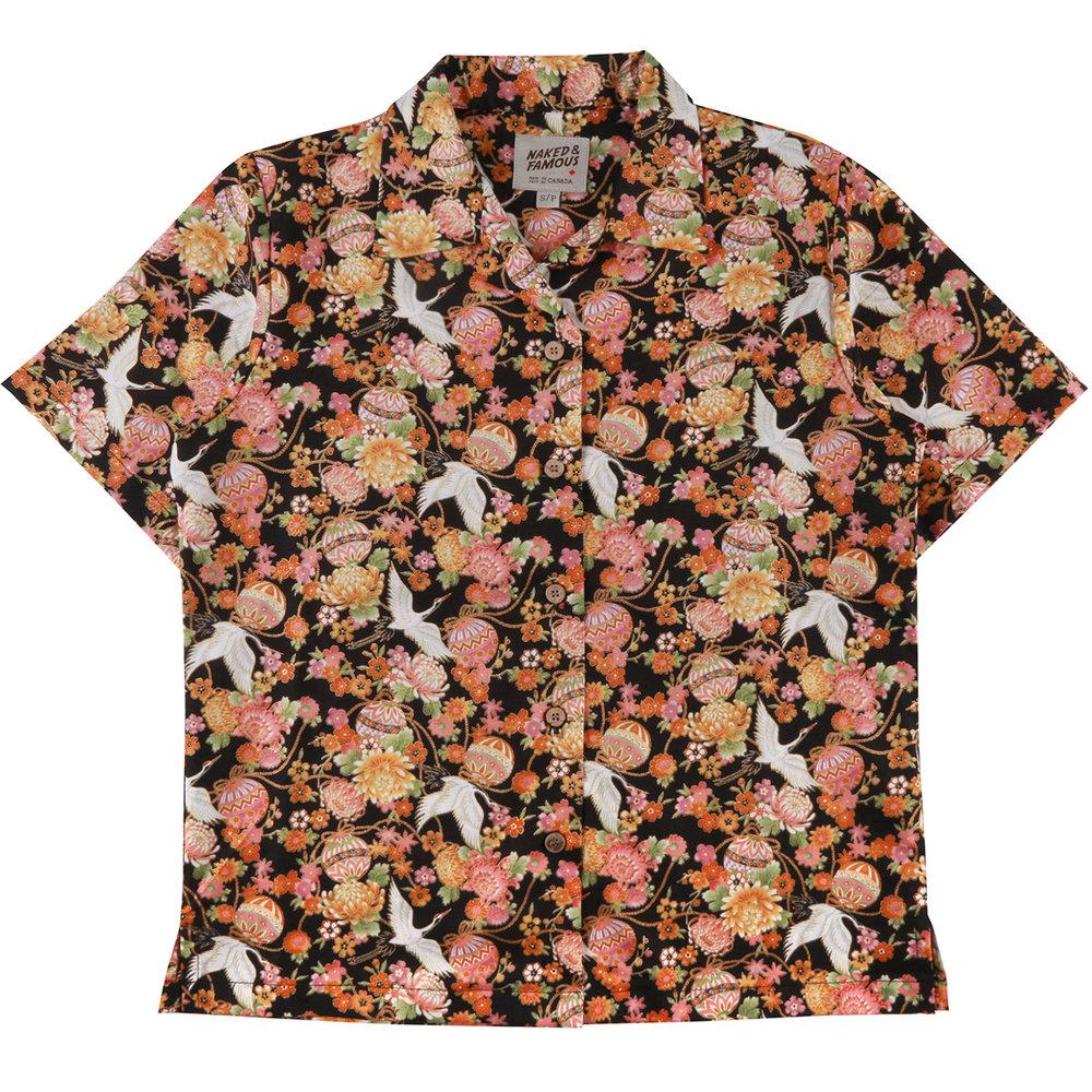 JAPAN TSURU FESTIVAL -BLACK - Camp Collar Shirt