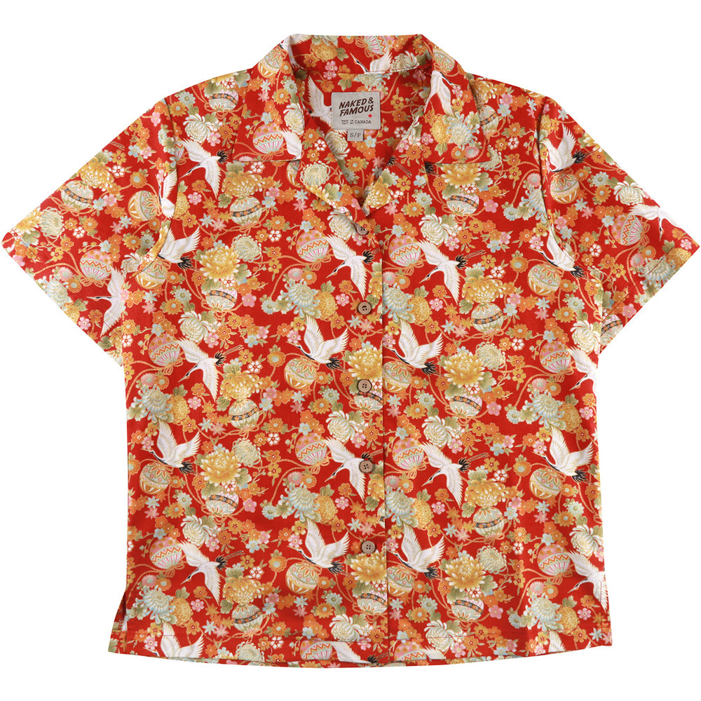 JAPAN TSURU FESTIVAL - RED - Camp Collar Shirt