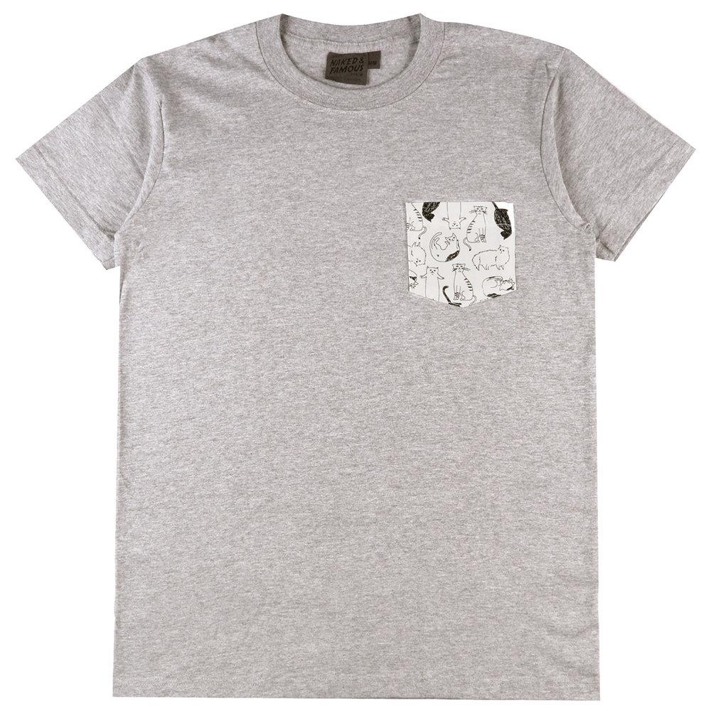 HEATHER GREY + CATS SKETCHES - Pocket Tee