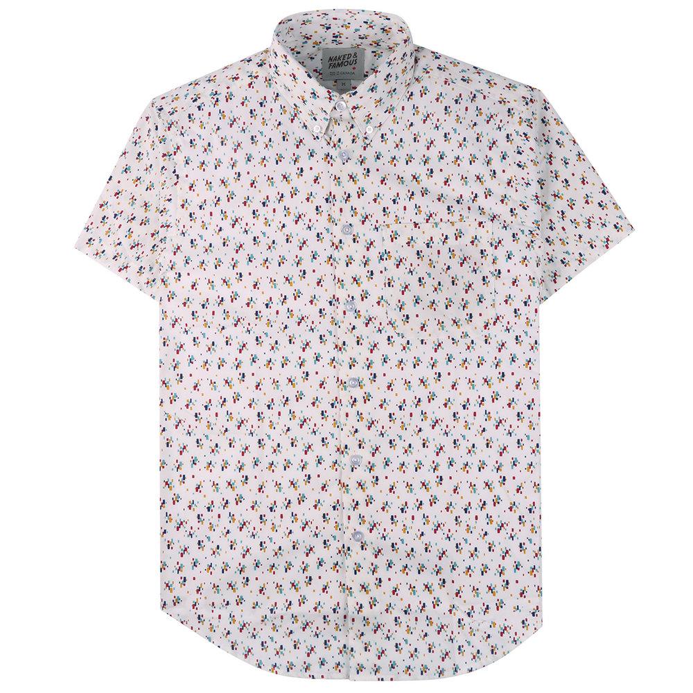 VINTAGE MOD PRINT - WHITE - Short Sleeve Easy Shirt
