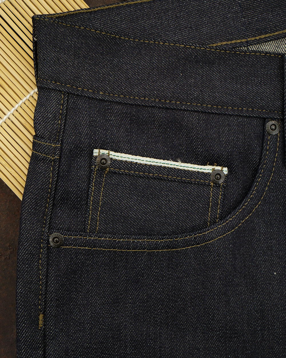 Green Line Selvedge ID Coin Pocket