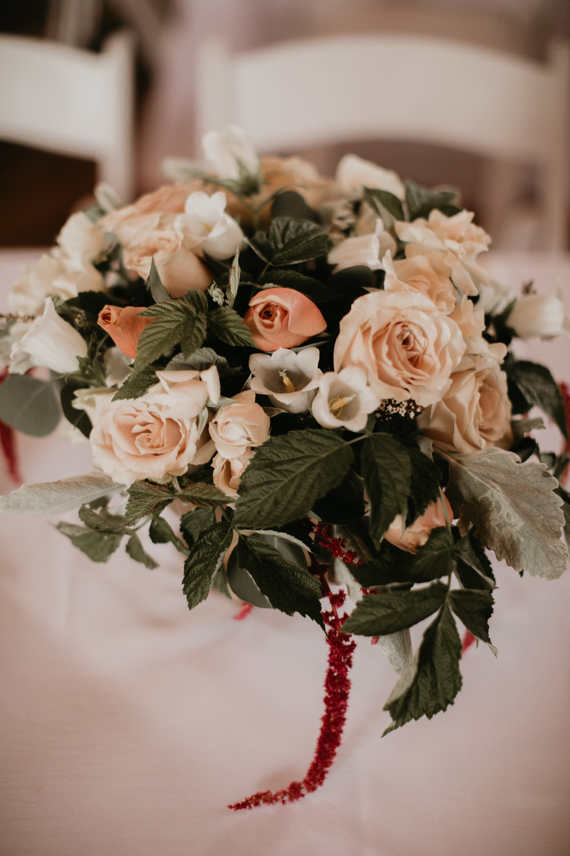 WEDDING CENTERPIECE AT BIRCH HILL BARN