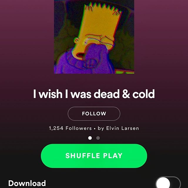 """Hugeee thank you to """"I wish I was dead & cold"""" for adding """"Sleeping on Me"""" to their playlist on Spotify 🙏🏻🙏🏻🙏🏻"""