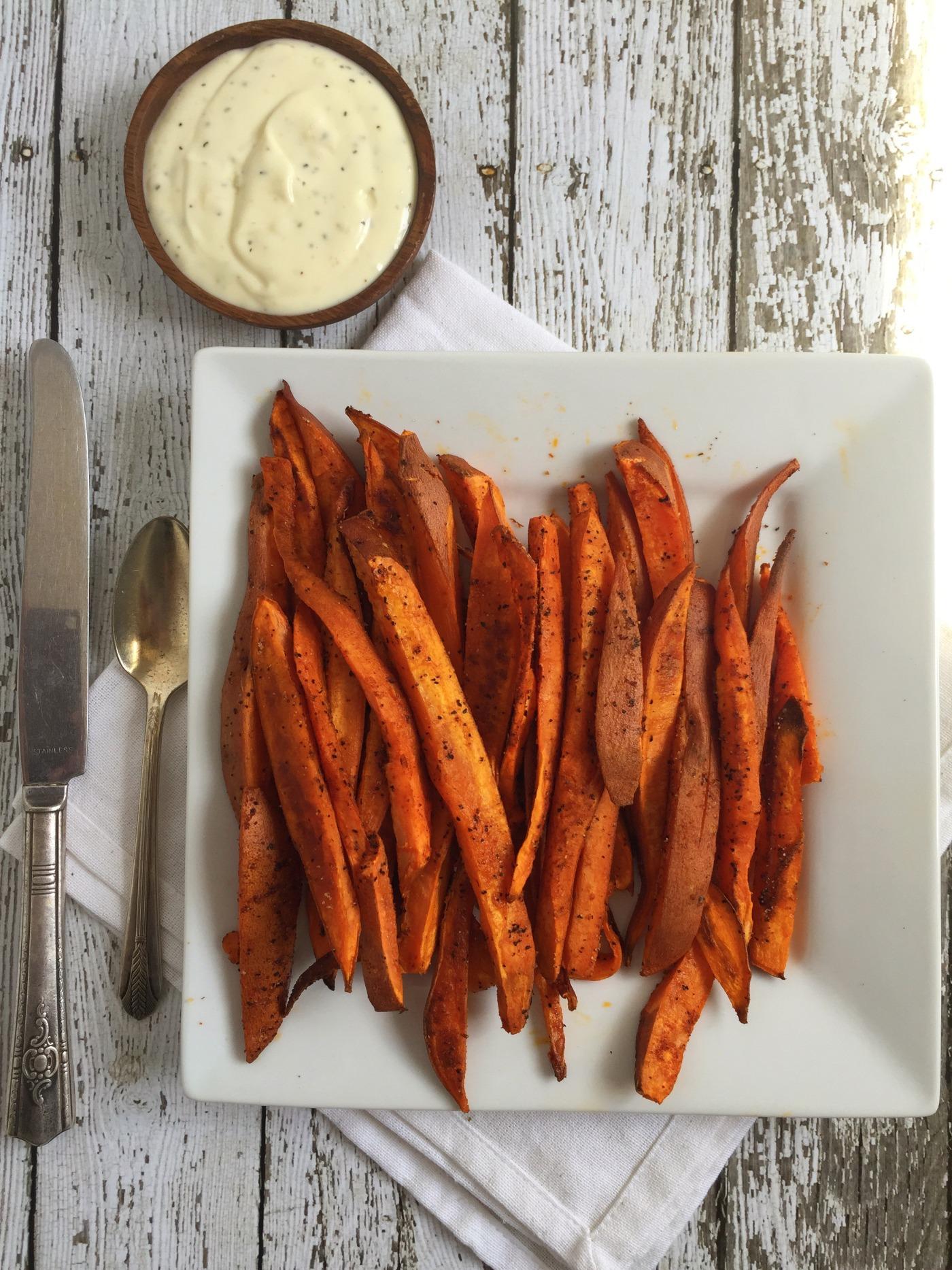 Sweet Potato Fries with Lemon Aioli