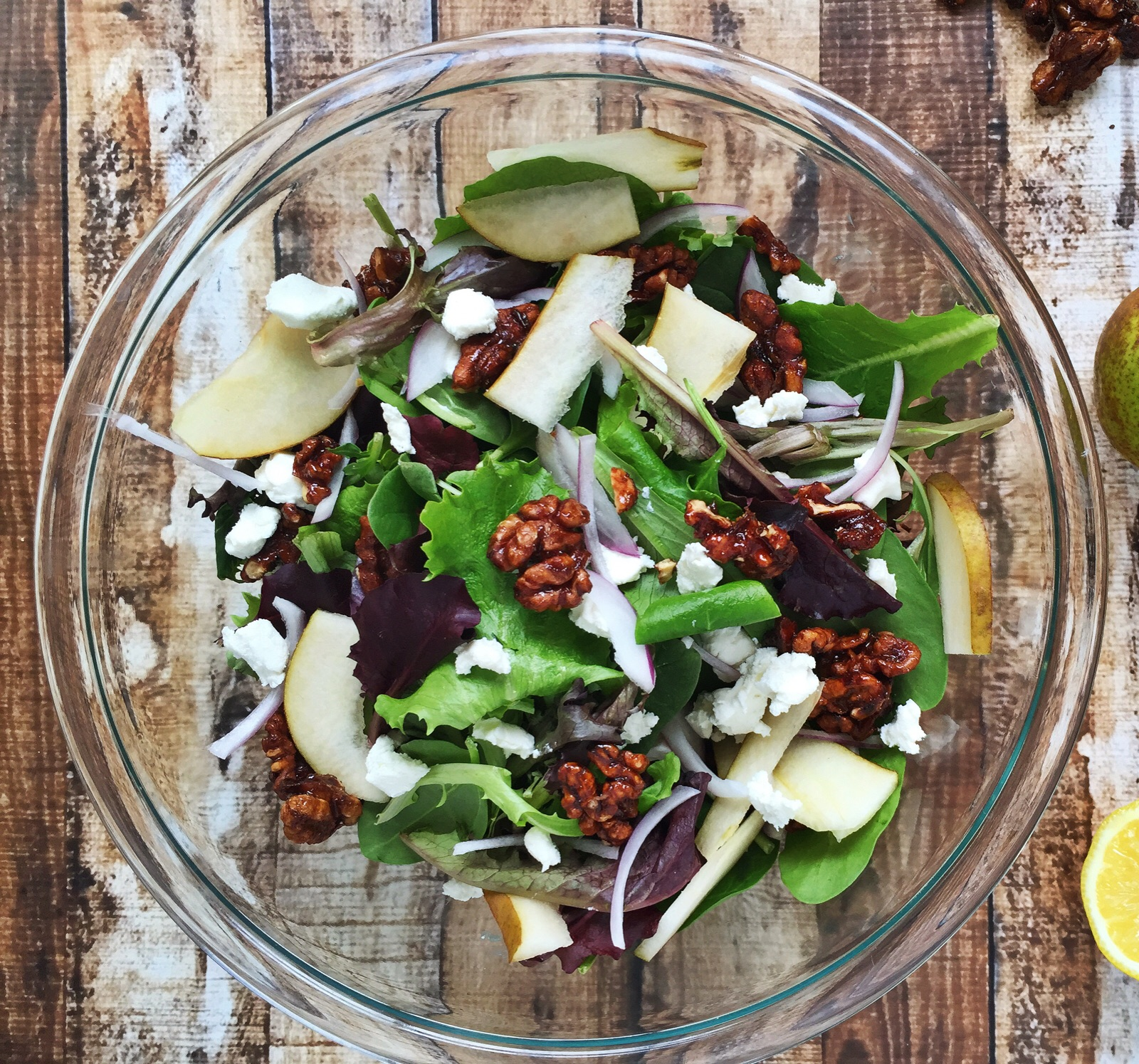 Mixed Greens with Pear, Goat Cheese, and Walnut
