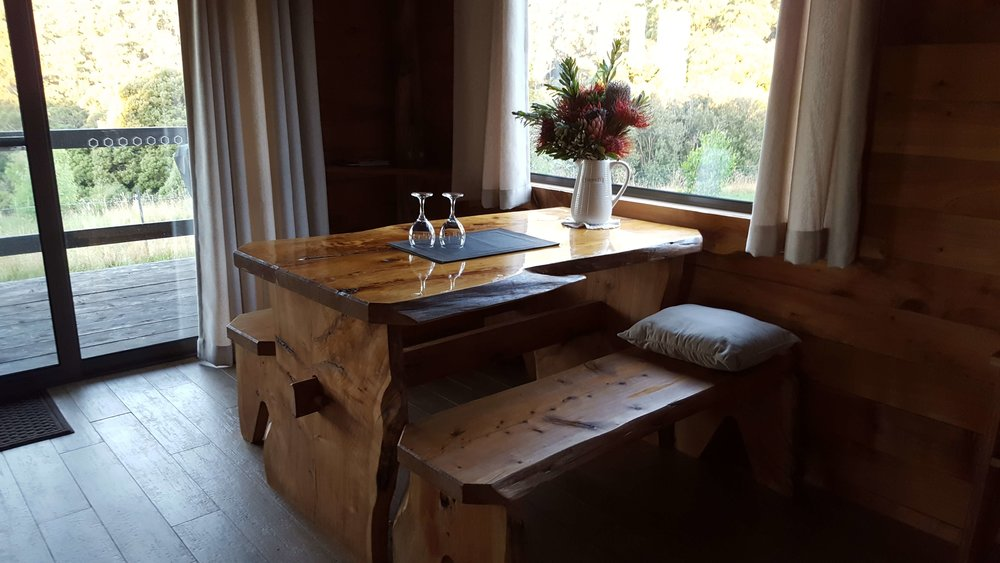 rustic hut mountain view hut table