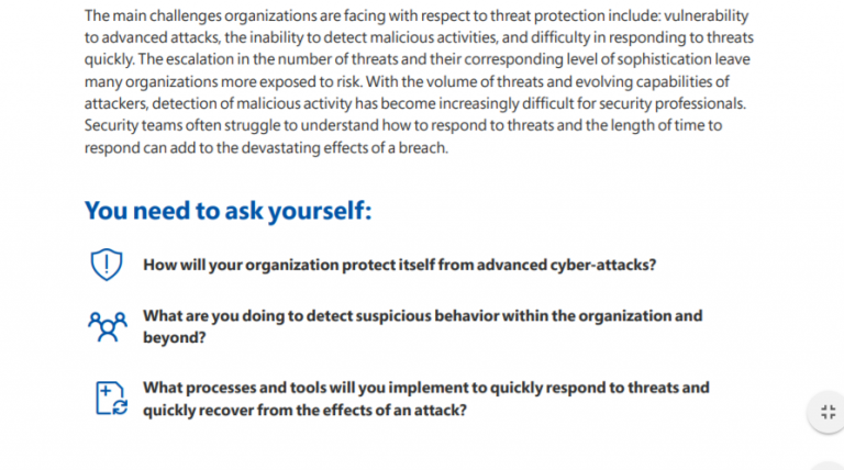 """Through open ended questions we challenge readers to examine their own organization's cybersecurity readiness in   """"How does your cybersecurity posture need to change?""""   a whitepaper that my colleague Joe Turick and I contributed to for Microsoft Services."""