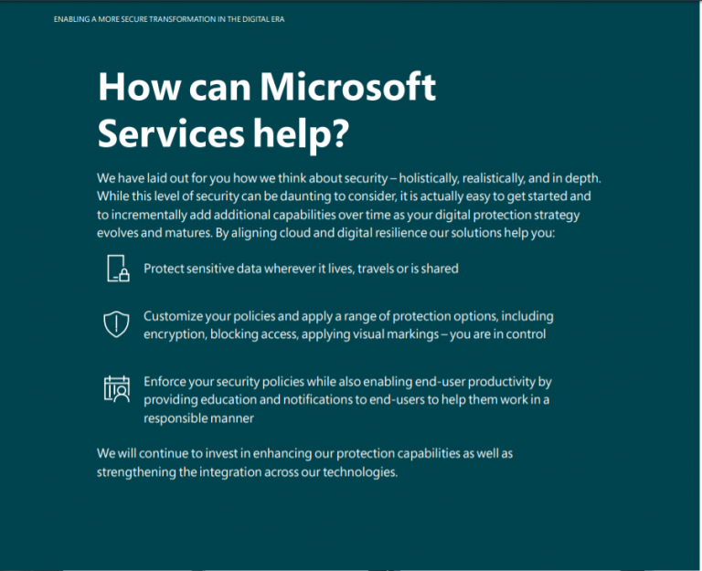 """An example of the transition from challenges to solutions taken from   """"Enabling a more secure transformation in the digital era""""   a whitepaper that my colleague Hannah Rames and I contributed to for Microsoft Services."""