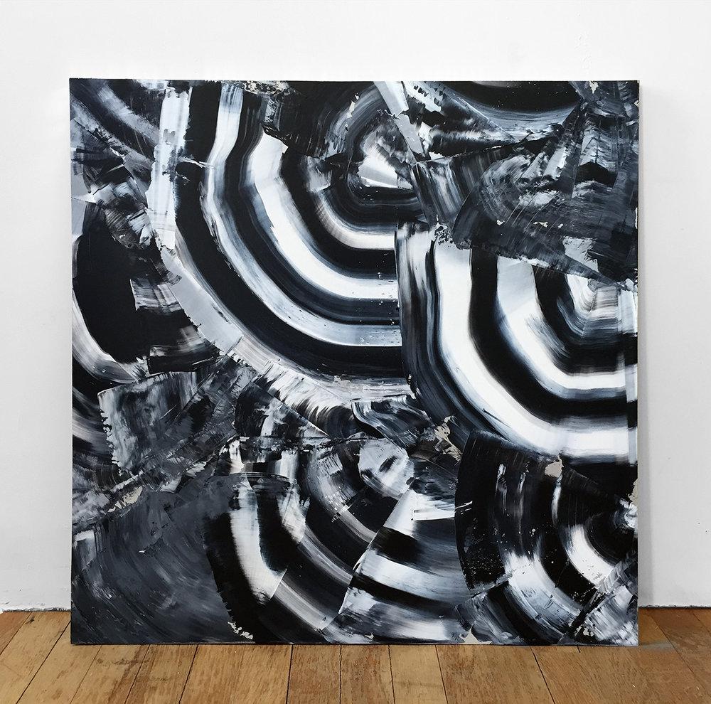 "Liminal 3-11, acrylic on aluminum panel, 24 x 24"""