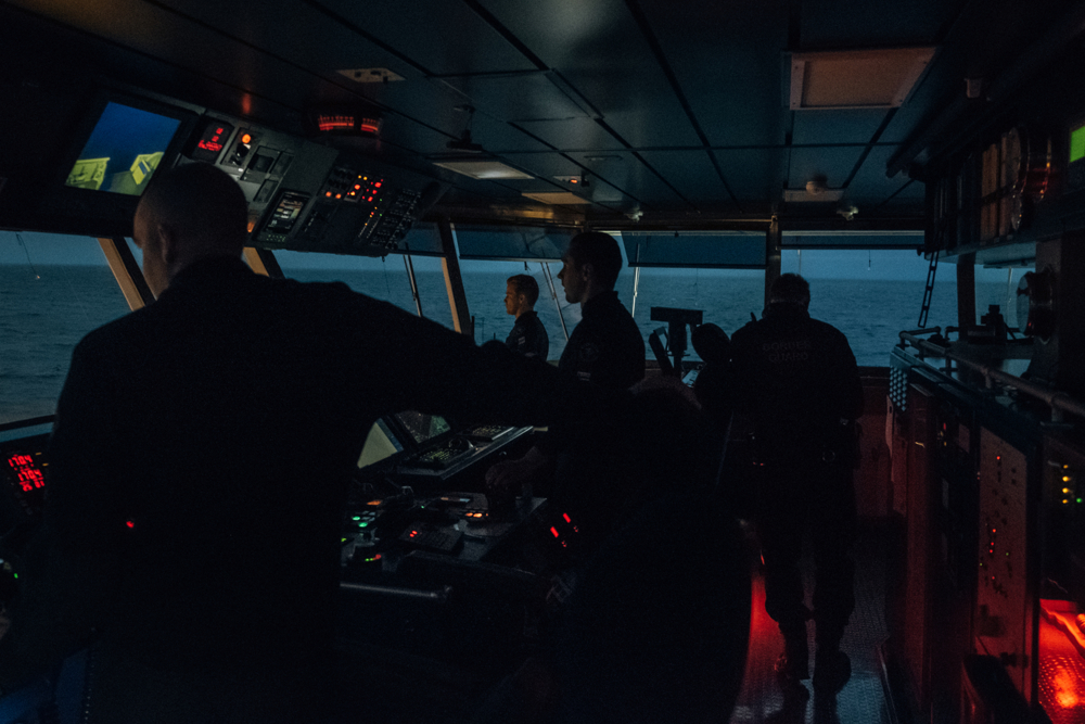 On the control deck of the the Merikarhu ship. Due to a malfunction of a land radar the ship was deployed to be used as radar bridge for the time of the reparation. The Border Guard is a cooperative authority in charge of controlling the long Finnish border inland and on the sea.