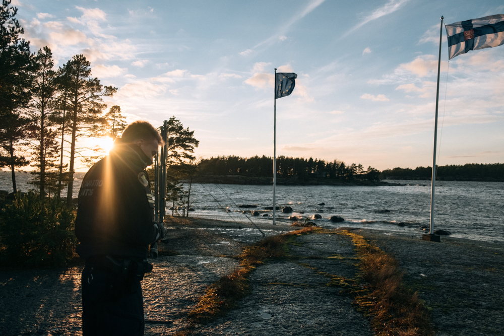 The southern coast of Finland is hugely populated with small island. Border Guards visit regularly the islands for checking on the surveillance equipment installed there.