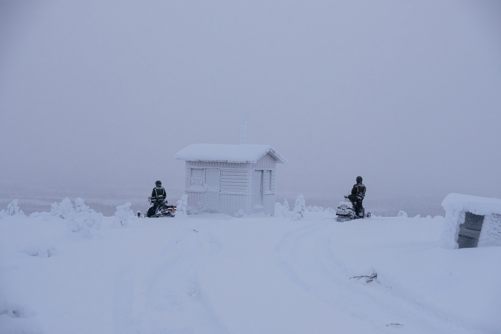 Just on the top of a mountain in front of the Russian border an observation post stands completely frozen. Depending on the season, some smaller posts are used or not.