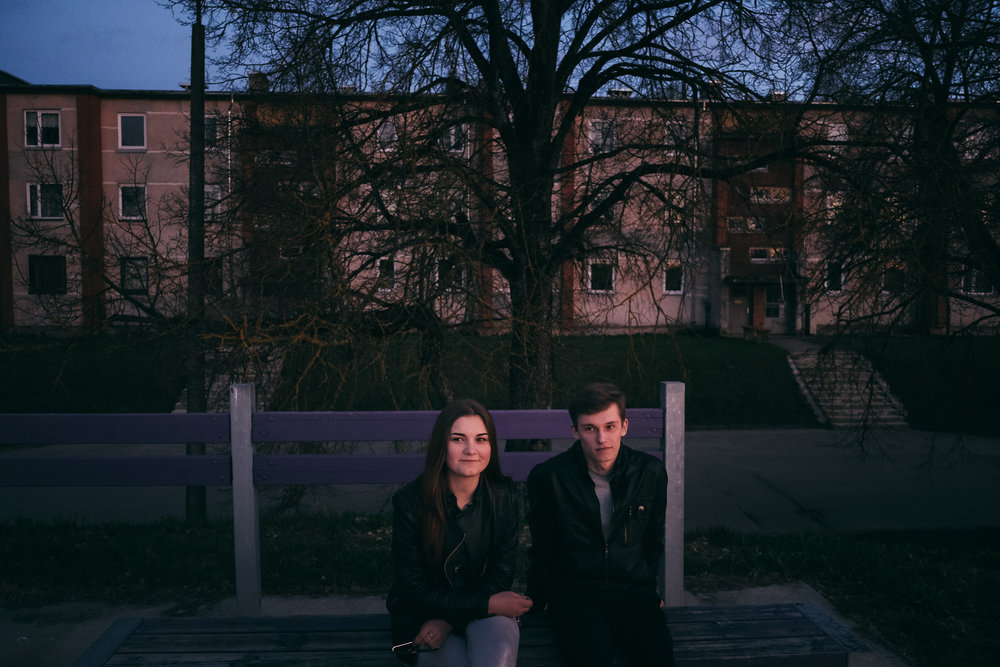 Jekabpils - Zemgale. An 18 years old couple, having a date by the Daugava river bank. They say they're willing to leave the country as soon as they finish school, maybe to UK or Russia.