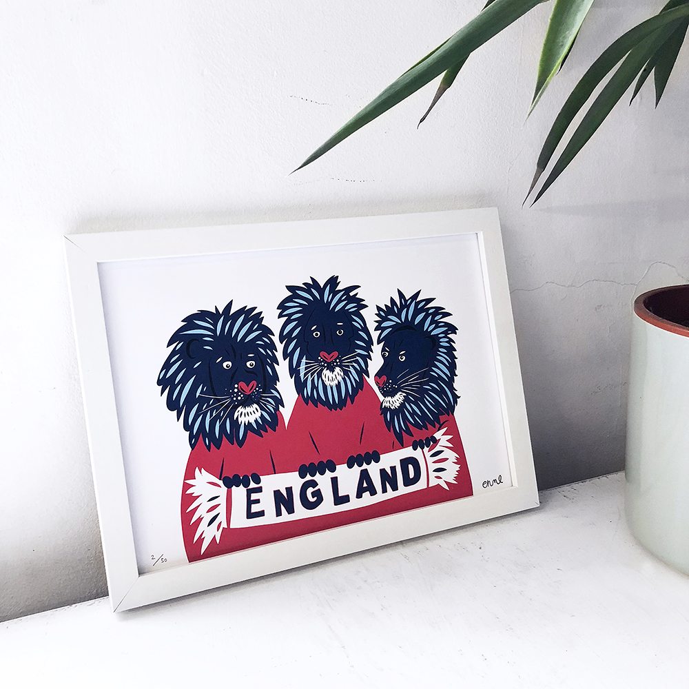 Three Lions - Framed