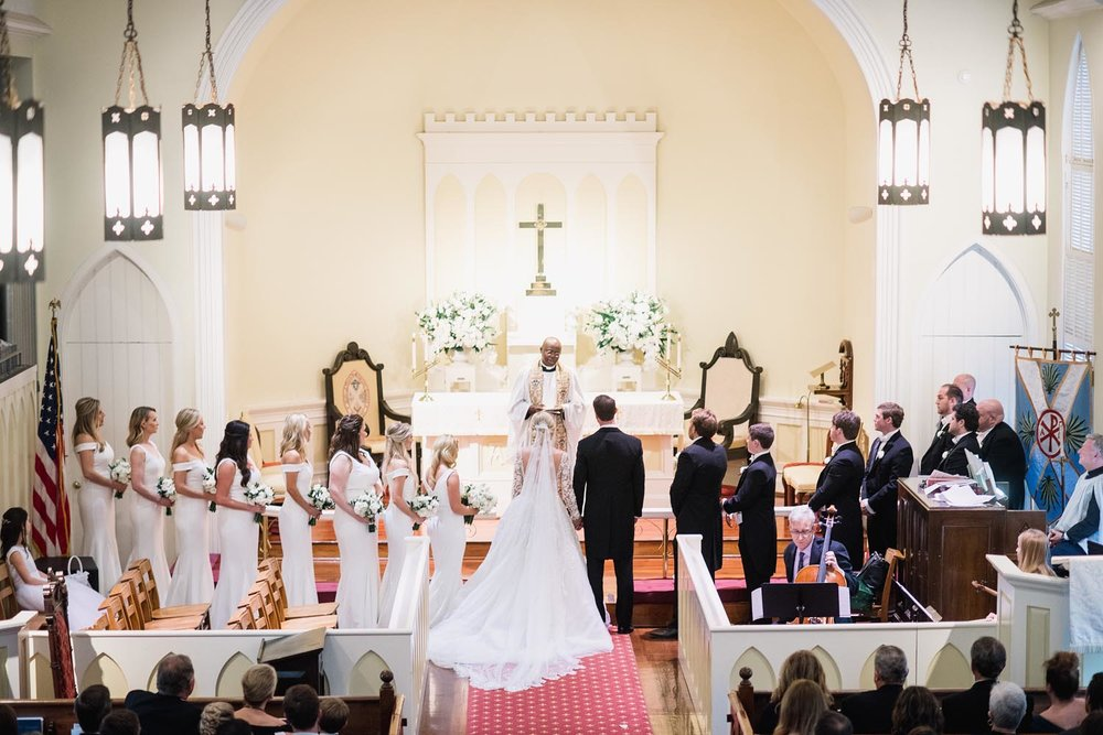 The ceremony held in the church the bride grew up attending, St. Andrews Church of Mt. Pleasant. Wedding planning and design by A Charleston Bride.
