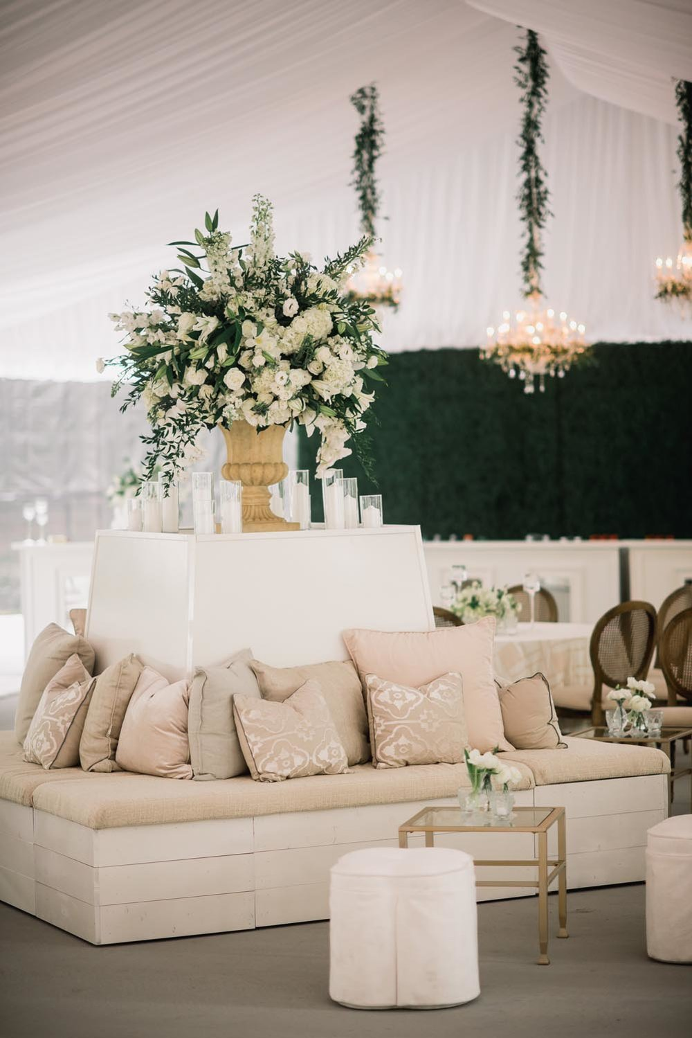 Cream lounge area wedding design. Wedding planning and design by A Charleston Bride.