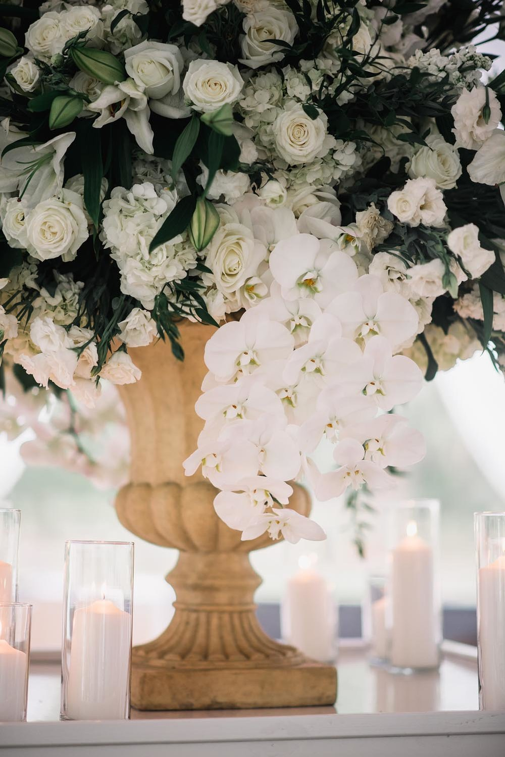 Large cream colored wedding floral centerpieces. Wedding planning and design by A Charleston Bride.