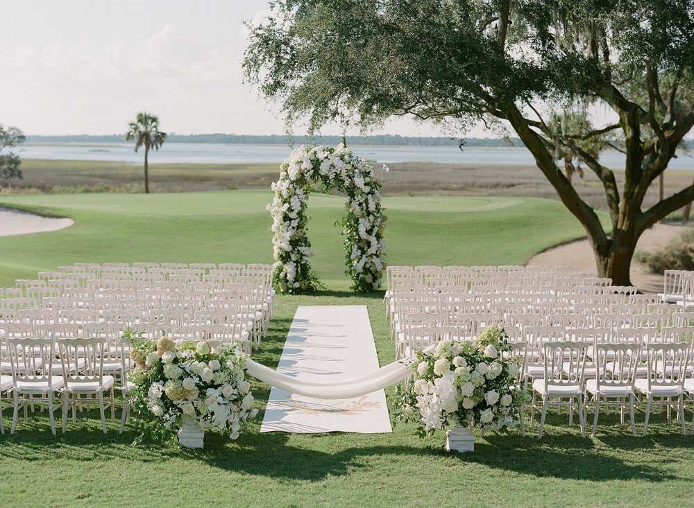 The bride dreamed of getting married at the River Course on Kiawah Island since she was a little girl. Wedding planning and design by A Charleston Bride.