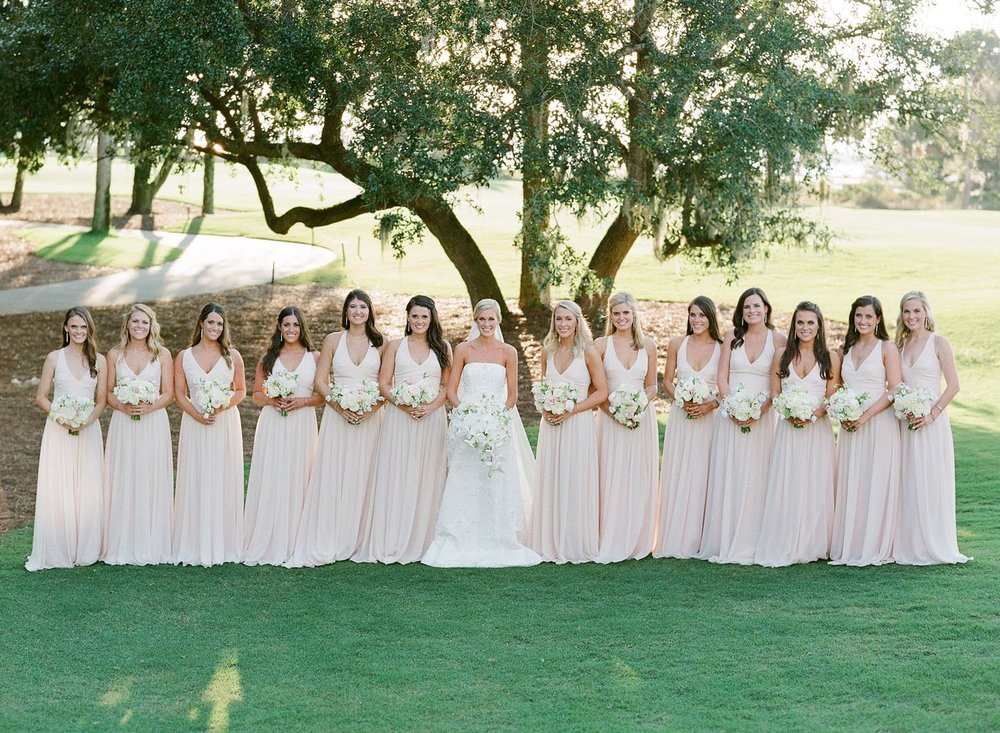 Blush pink bridal party in Charleston, South Carolina. Wedding planning and design by A Charleston Bride.