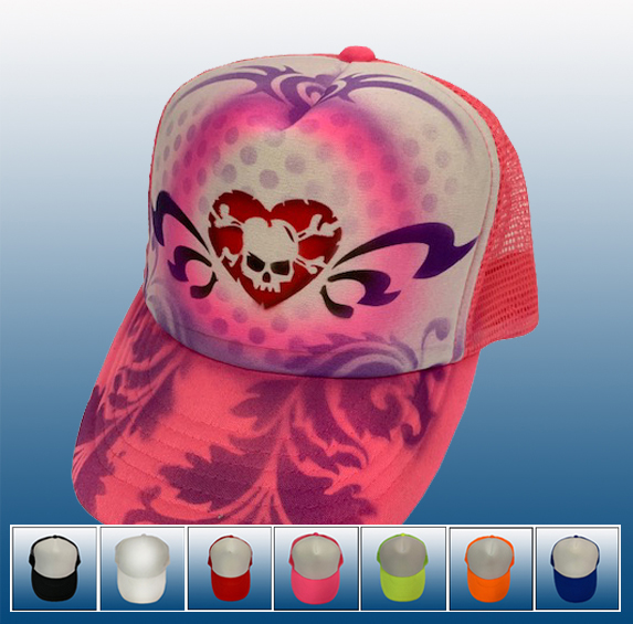 9cf8460090b77 Trucker Hat with heart skull design — Anything Airbrushed plus