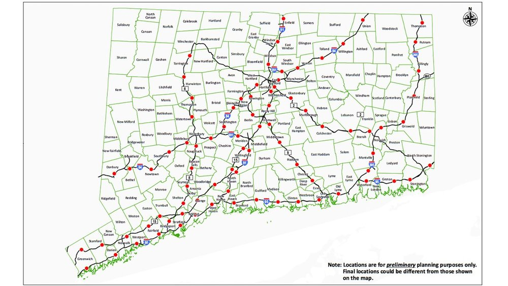 Proposed placement of the 82 toll gantries. Each red dot represents a toll gantry or electronic toll.  From Advisory Panel on Transportation.   New Tolls Cost Released: Here's How Much And Where They Could Be   A new study gave some examples of potential costs and locations of tolls in Connecticut.By  Rich Scinto, Patch Staff  | Nov 17, 2018 9:23 am ET | Updated Dec 22, 2018 8:18 pm ET://patch.com/connecticut/across-ct/new-tolls-cost-released-heres-how-much-where-they-could-be
