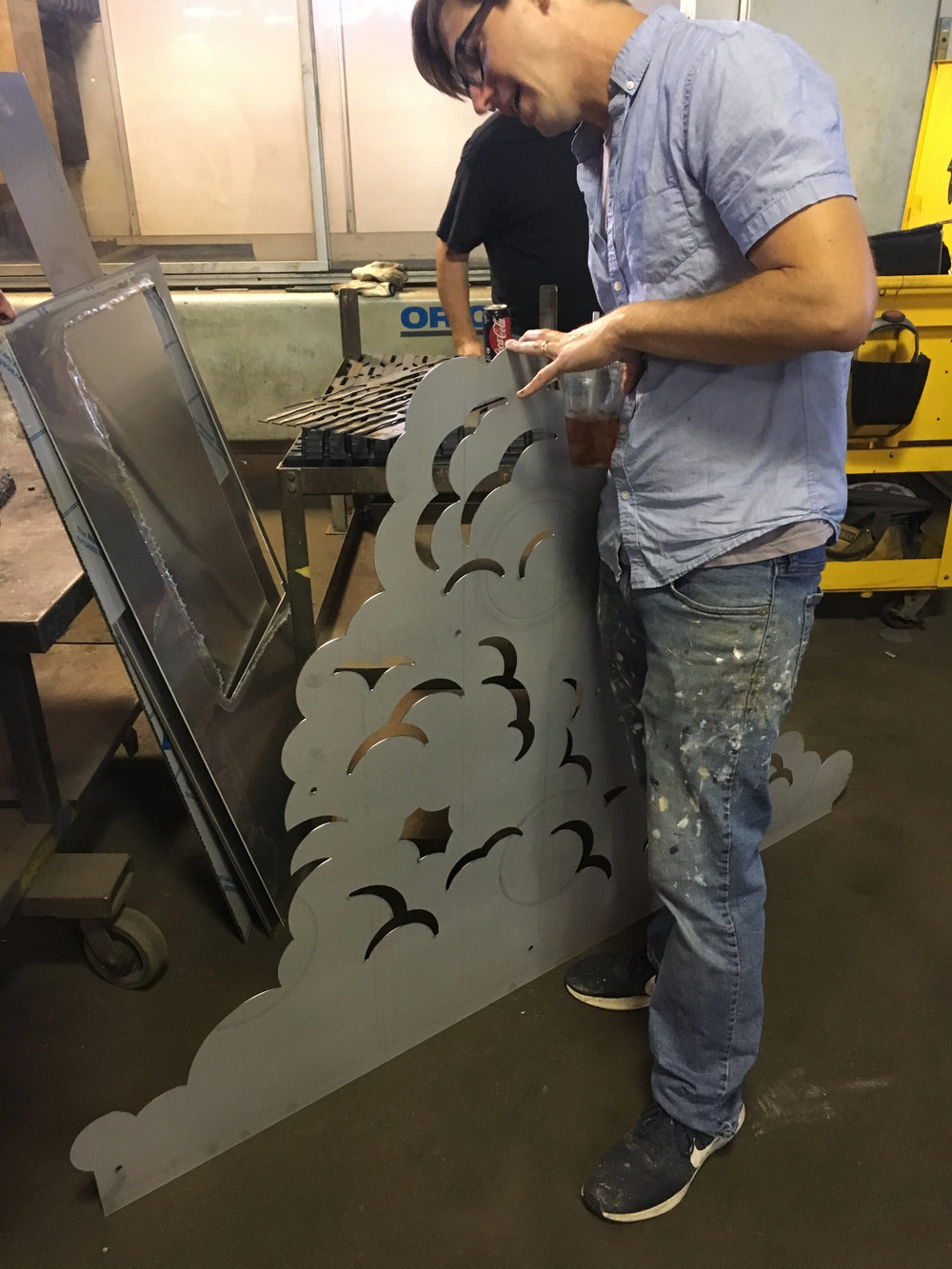 Working with fabricator on full size sculpture.