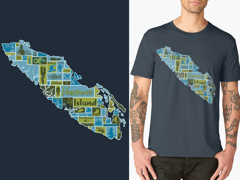 Garment Design: Vancouver Island Pictorial Map