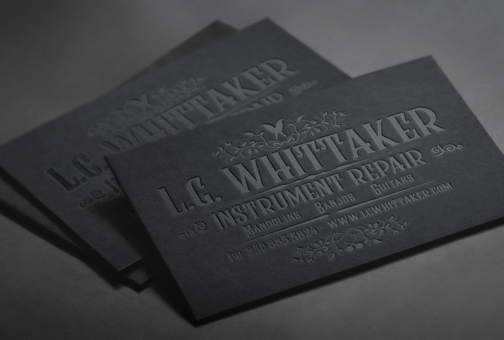For instrument repair specialist LG Whittaker, Canadian designer  Jesse Ladret  made these gloriously black business cards. With a layout based on Whittaker's existing banner but with refreshed typography, these debossed letterpress cards are wonderfully tactile.