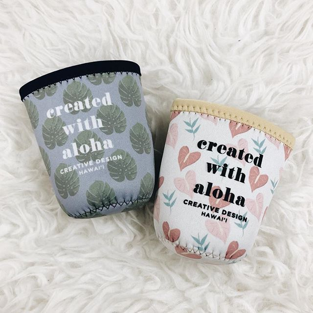 CREATED WITH ALOHA 🌺 #creativedesignhawaii #coozie #promotionalproducts #promo #createdwithaloha