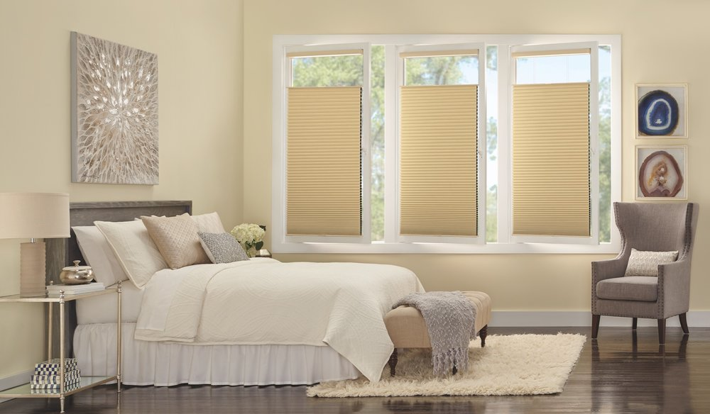 Hunter Douglas white bedroom