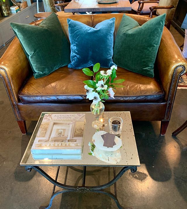 Authentic design starts with one fabulous piece. Come check out our new vintage leather sofa, even Charlie likes it! #thehouseofporter