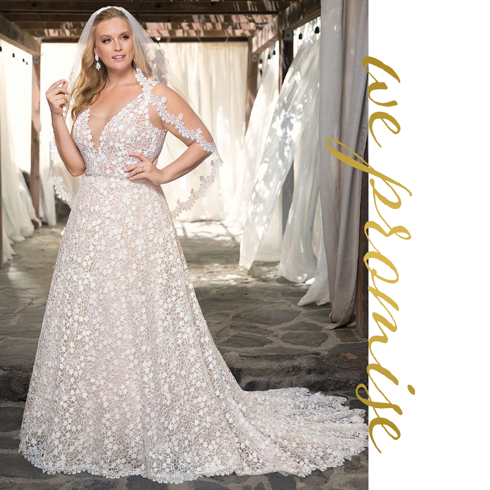 """At Haute & Co.™ Bridal,we promise: - To carry the best selection of wedding gowns for the discerning bride. Most of our brides find their gown on their first visit!Our inviting environment is designed to help you relax and enjoy an enchanting wedding gown shopping experience. Our stylists are specifically trained to style curvy brides with sensitivity and will work hard to bring your vision to life.From selection to purchase and final pickup we want each bride to have a stress-free final delivery. Our team is known for listening and catering to each bride's unique vision.With locations in Chicago and Charlotte, we are honored to redefine perspectives on beauty, and spread body-positivity all over the world by creating """"Real Haute Brides."""""""